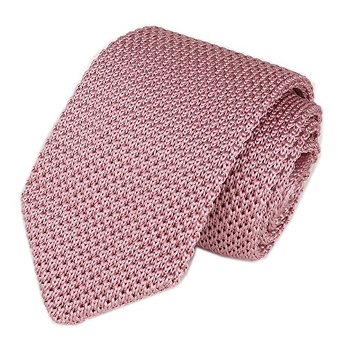 Sale Pink Ties Solid Neckties (Mens Casual Solid Pink Woven Neck Tie Knit Formal Party Wedding Prom New Necktie)