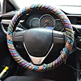 FLY5DUniversal Automotive Steering Wheel Cover Natural Fibers Auto Car Wrap Cover (A)