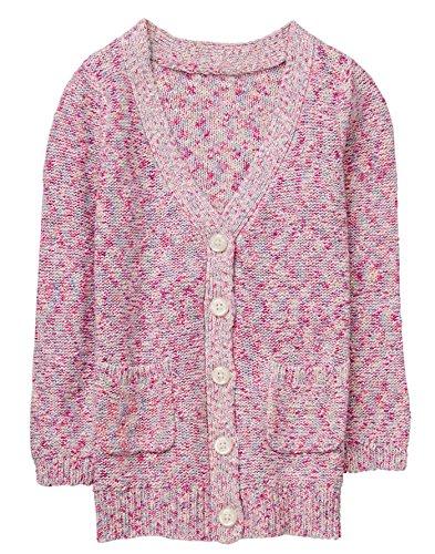 Gymboree Girls' Little Long Sleeve Marled Cardigan, Petal Pink, M