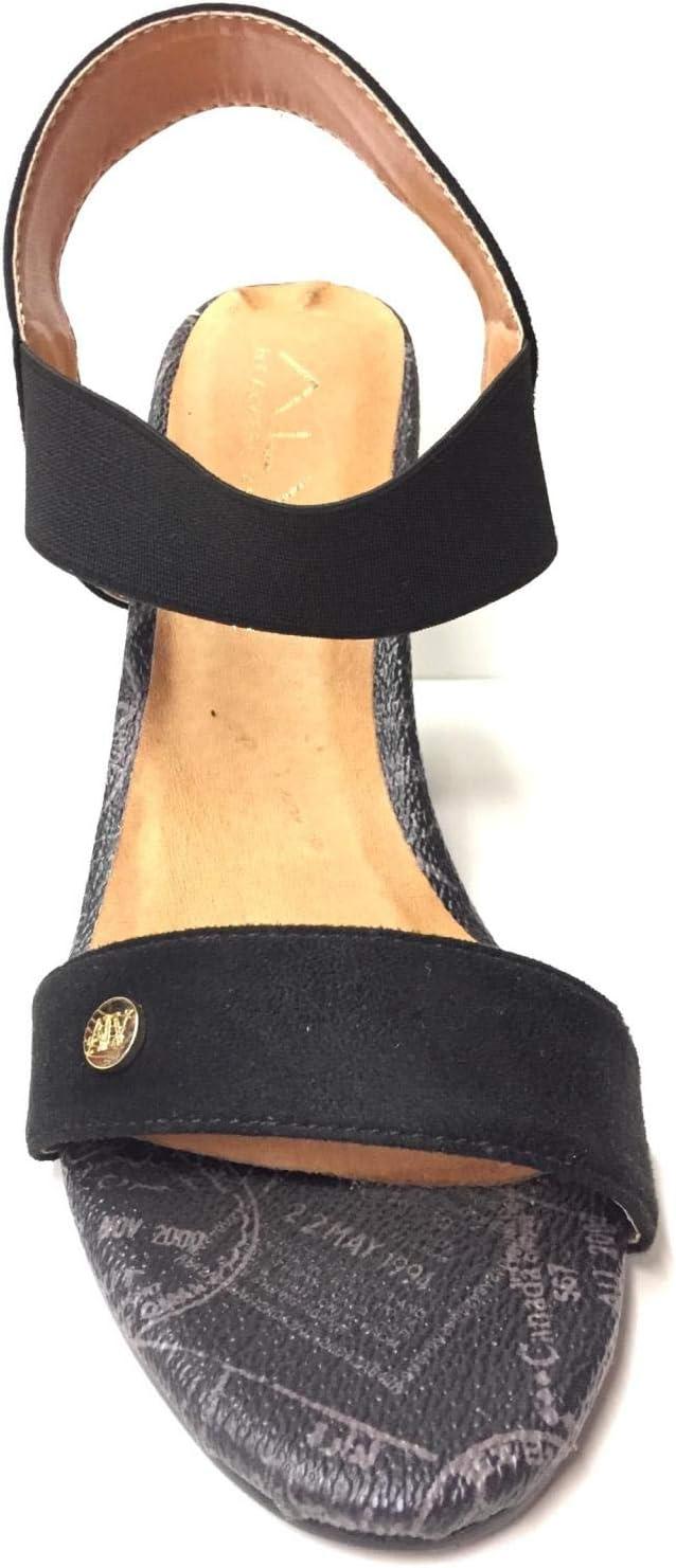 Alv by Alviero Martini - Sandalias de tacón para mujer Cam 35, piel original PE 2020 Negro