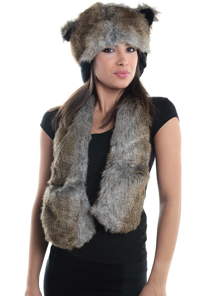 e59b208d502 Amazon.com  Wolf Full Hood 3in1 Hat Scarf Mittens Faux Fur with Fleece  Lining  Toys   Games