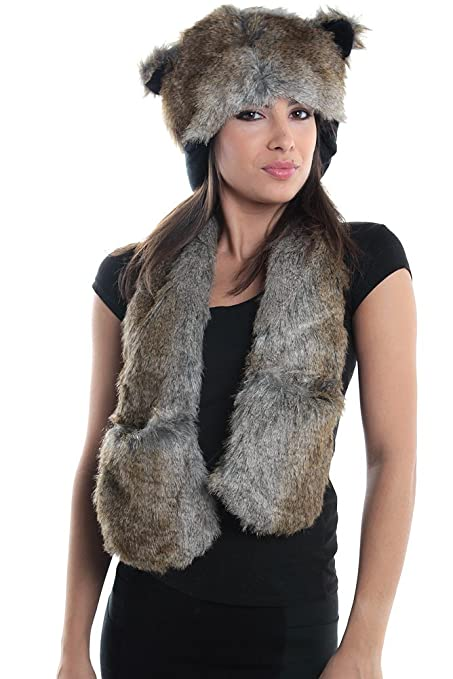 f72061578c6 Amazon.com  Wolf Full Hood 3in1 Hat Scarf Mittens Faux Fur with ...
