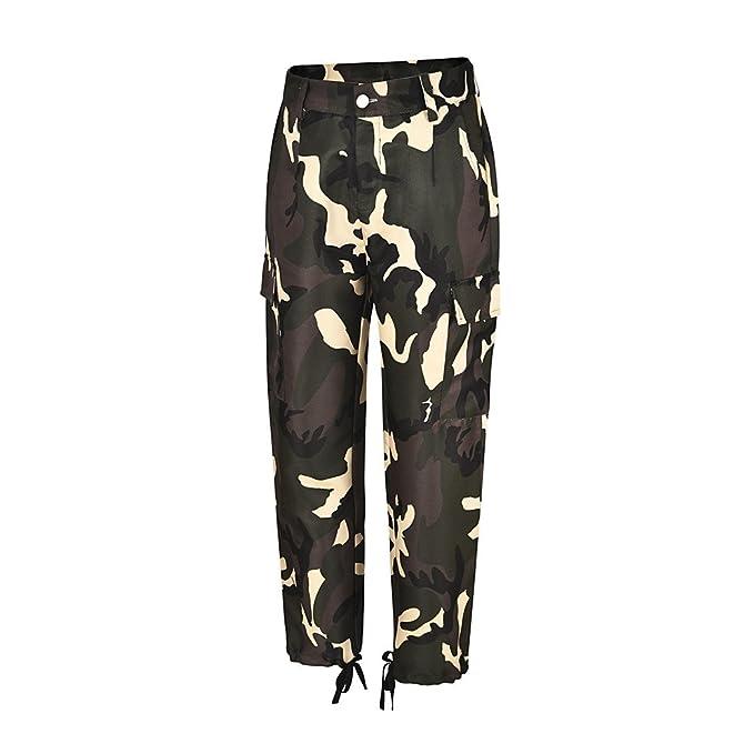 STRIR 2019 Moda Pantalones de Mujer Camo Cargo Pantalones de Camuflaje Casual al Aire Libre Jeans