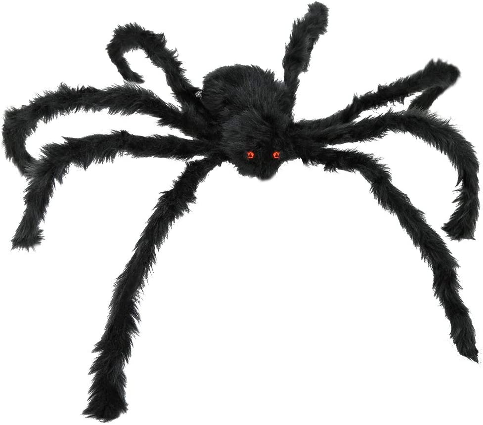 JAMIEWIN Giant Spider for Halloween Decoration, 55 inch 140cm Large Hairy Fake Spider Props, Scary Halloween Spider Decoration Outdoor Indoor House Party Yard