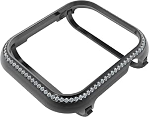 HJINVIGOUR Bling Rhinestone Diamond Crystals Inlaid Watch Case Cover Metal Bezel Compatible Apple Watch Series 4 5 6 SE (Black, 44MM)