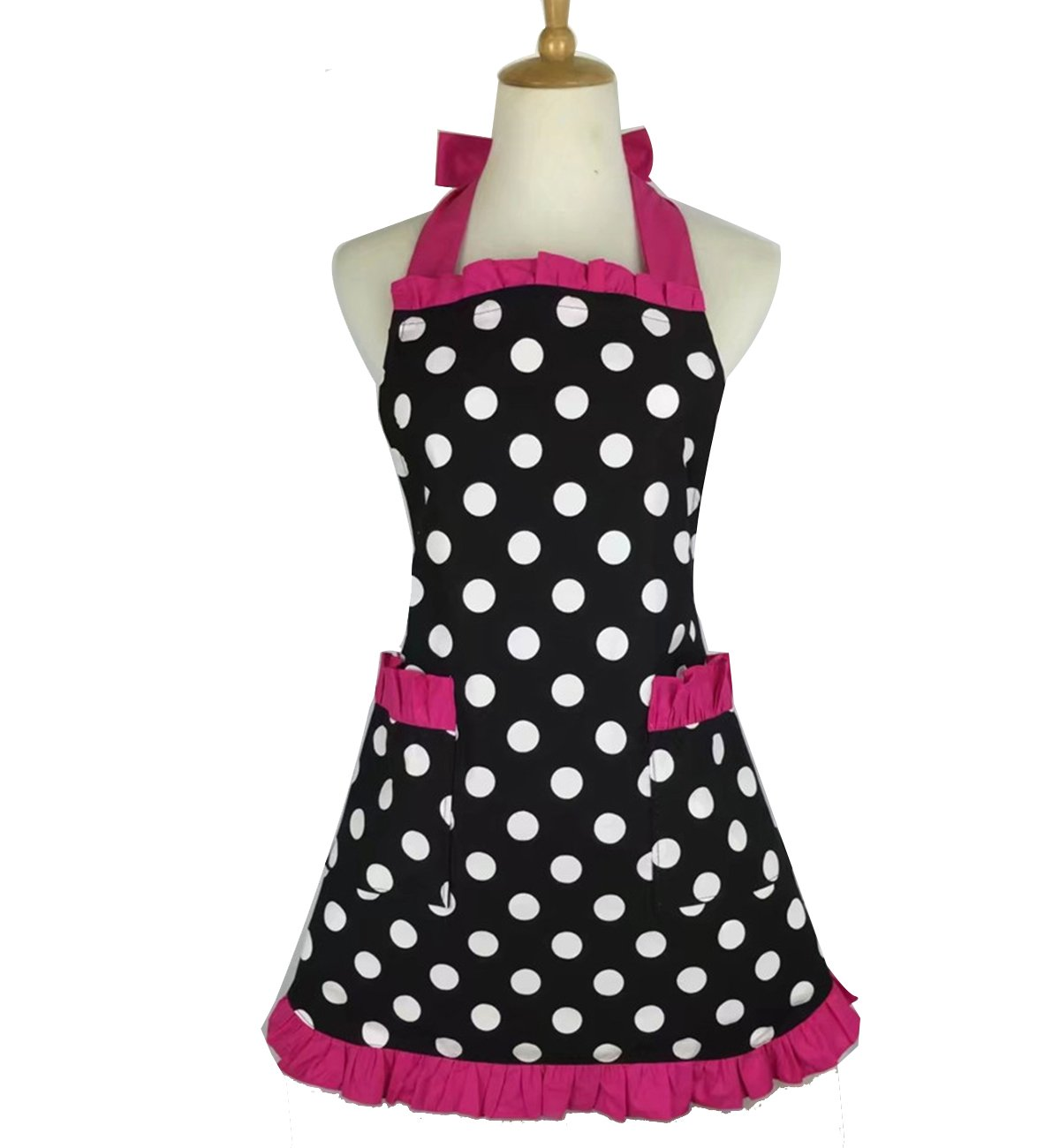 ... Lovely Personalized Apron Stylish Retro Lacy Vintage Flirty Maid Polka  Dot Cooking Kitchen Working Adjustable Apron with Pockets for Women Ladies ( Rose)