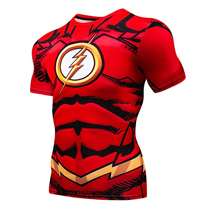 7a3eb203 Image Unavailable. Image not available for. Color: LafaVida Quick Cool Dry  Fit T-Shirt 3D Print Marvel Superhero Men's Compression ...