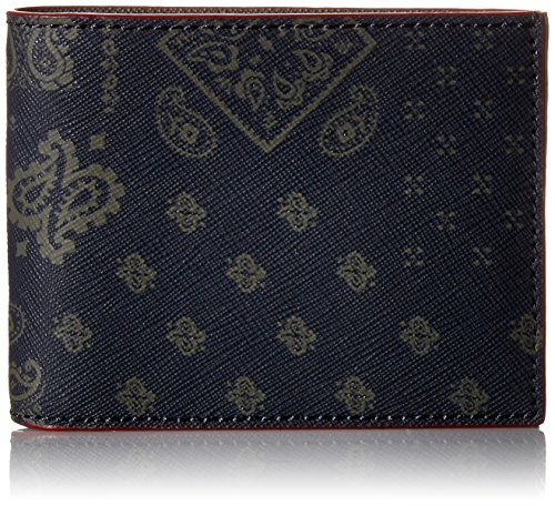 Jack Spade Men's Barrow Leather Slim Billfold, Saffiano Embossed Bandana Print, One Size