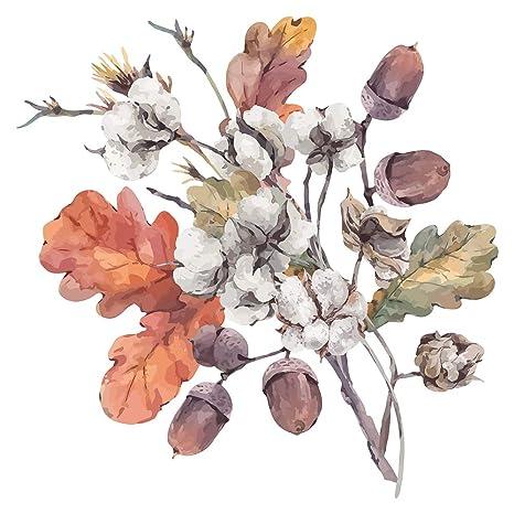Pegatina de pared floral en acuarela Ramo de otoño con hojas y bellotas en colores cálidos