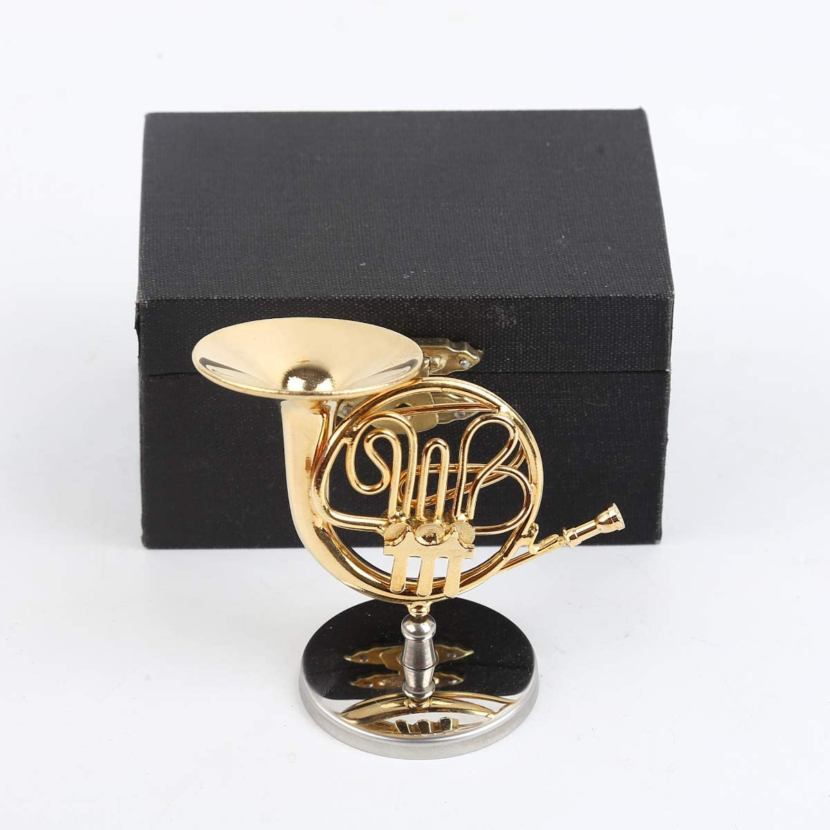 Dselvgvu Copper Miniature French Horn with Stand and Case Mini Musical Instrument Miniature Replica Dollhouse Model Mini French Horn Home Decoration (2.76