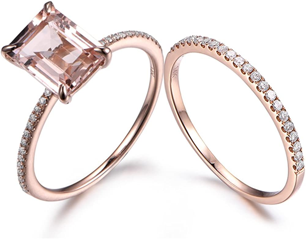 Amazon Com Myraygem Wedding Ring Sets Emerald Cut Pink Morganite Engagement Ring Set 14k Rose Gold Solitaire Diamond Micro Pave Stacking Band Myraygem Jewelry