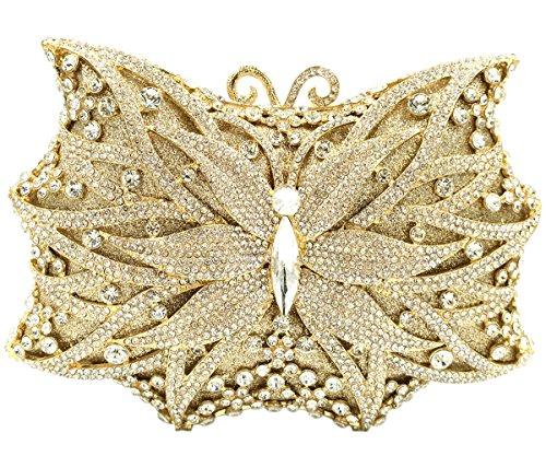Mujer Bolso Noche Bolsas Fiesta Boda Carteras Brillo Mano Diamantes Cadena Embrague Mariposa Dorado Gold
