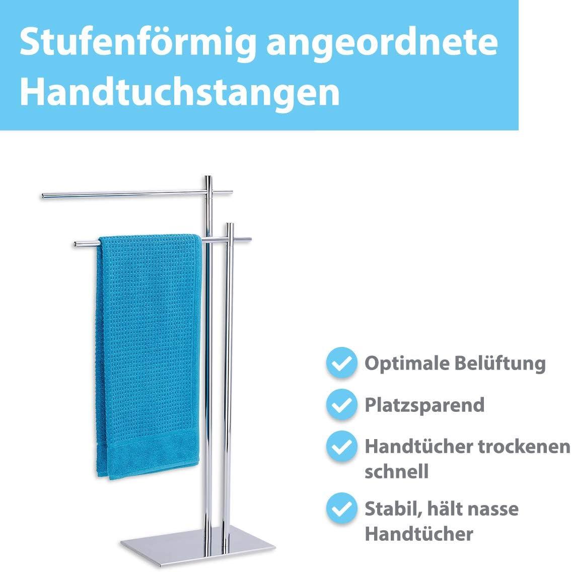 Wundergut Handtuchst/änder Edler Handtuchhalter in Edelstahl Optik und extra schwerer Bodenplatte Towel Stand mit 2 Stangen