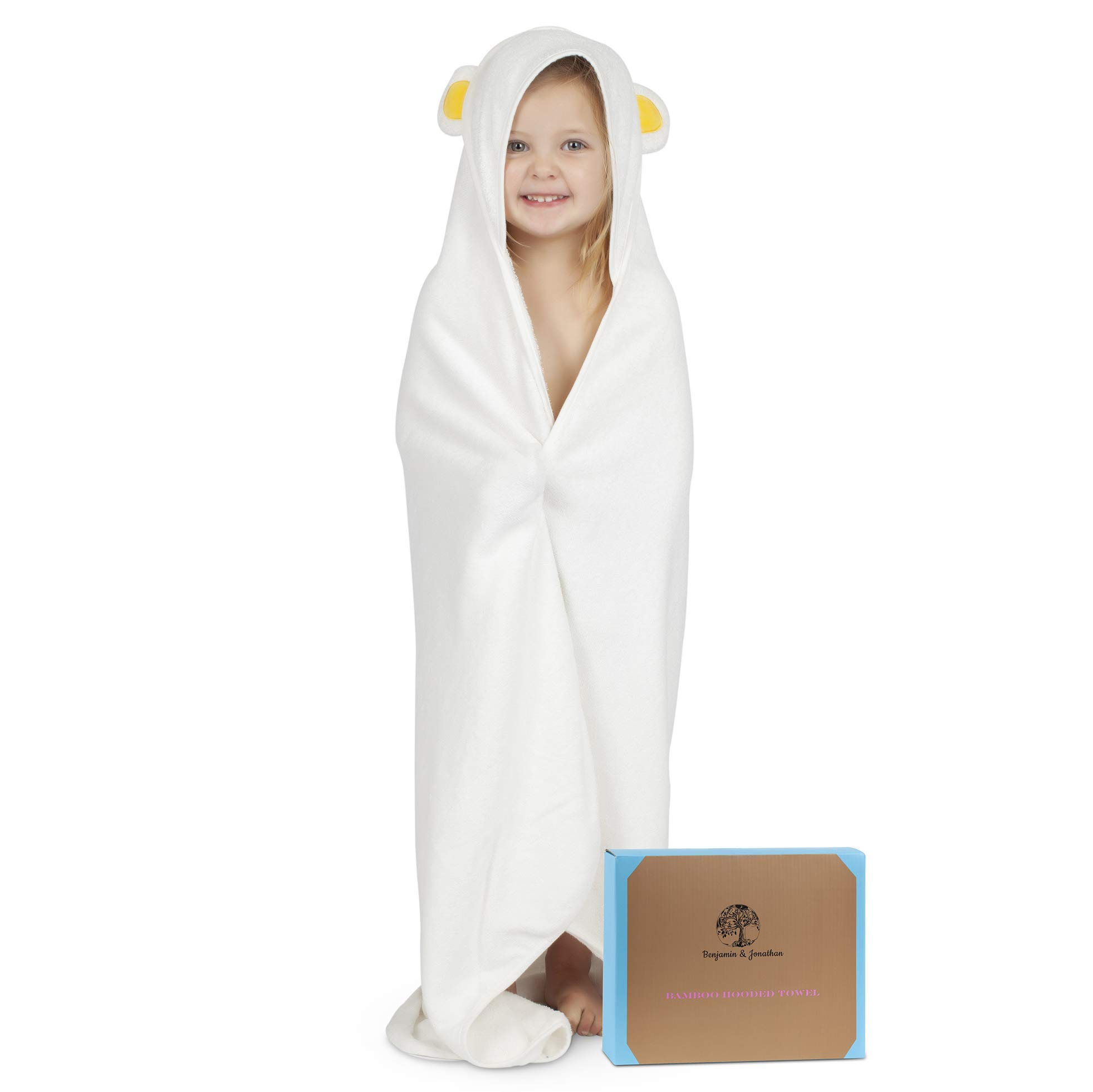 Luxurious Hooded Baby Towel   Ultra Soft and Absorbent Organic Bamboo Bath Towel   Hypoallergenic with Cute Bear Ears by Benjamin&Jonathan   Perfect for Baby Shower Gift for Boy&Girl,Infant-Toddler