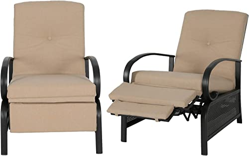 Patio Tree Outdoor 2-Piece Recliner Chair Automatic Adjustable Patio Lounge Chair with Cushion
