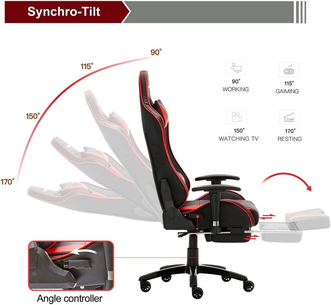 da scrivania Bianco GTFORCE Formula MX per il PC o per videogiochi sportivi e racing in simil pelle sedia gaming reclinabile