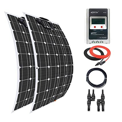 Giosolar Solar Panel 200W (2 x 100W) Flexible solar panel kit battery  charger monocrystalline MPPT Solar Charge Controller complete