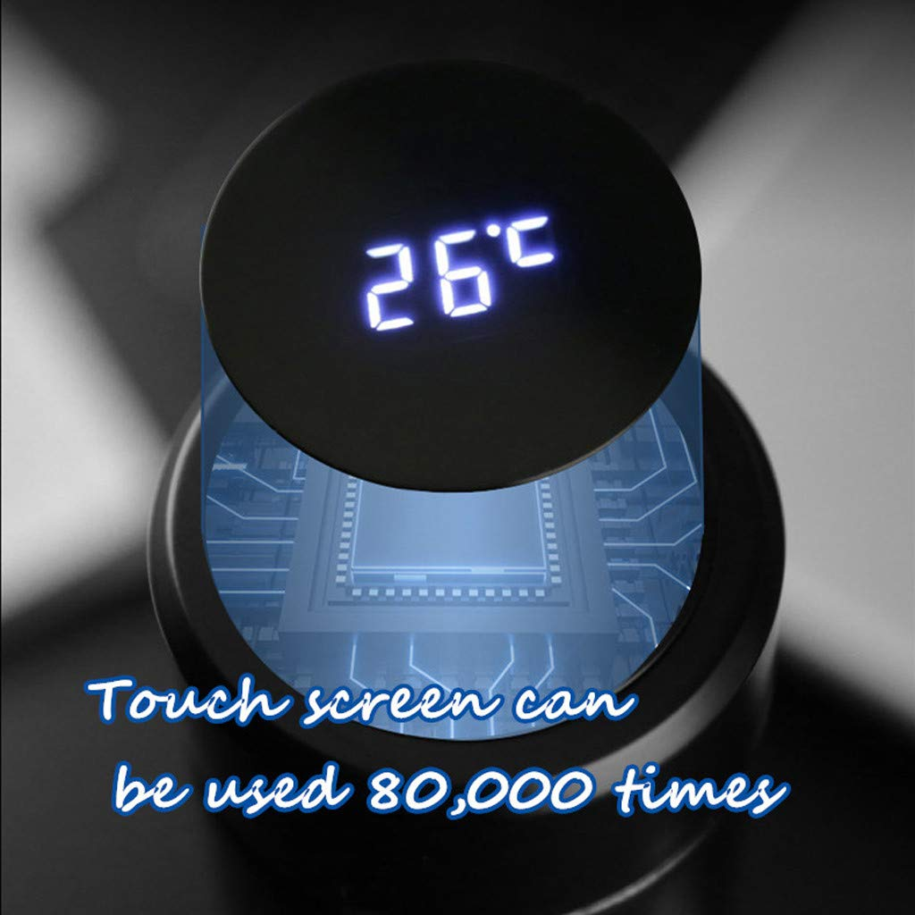 ROUNYY Thermosflasche, Tassen zum bemalen Becher Teetassen Reisebecher Tassenwärmer Travel Mug Thermo-/Isolierbecher Fassungsvermögen: 500 ml,LCD-Touchscreen-Temperaturanzeige (Schwarz)