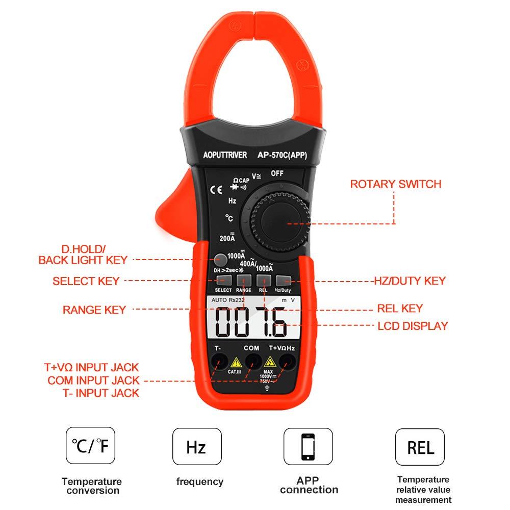 Digital Clamp Meter Bluetooth Multimeter Ber/ührungslose Stromzange f/ür Multimeter AP-570C-APP 4000 Counts Auto Range AC//DC Spannung Strom Widerstand Kapazitanz Frequenz Testen