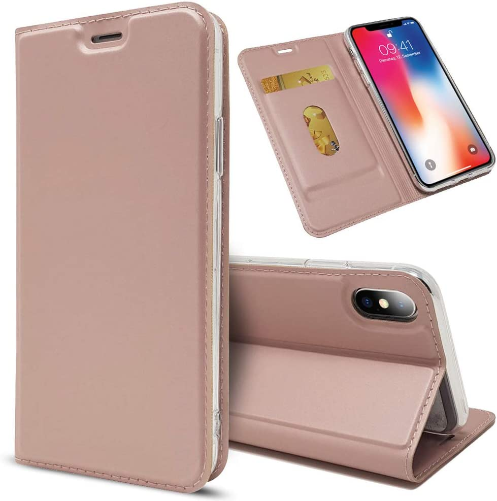 NALIA Flip Case Compatible with iPhone X Xs, Ultra-Thin Phone Cover Magnetic Leather Back Front Protector Skin Kickstand Slim Protective Bookcase Shockproof Full-Body Etui, Color:Rose Gold