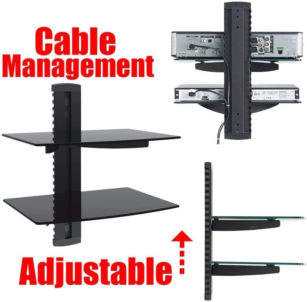 2xhome New TV Wall Mount Bracket Dual Arm ,HDMI Cable Two 2 Double Shelf Package Secure Cantilever LED LCD Plasma Smart 3D WiFi Flat Panel Screen