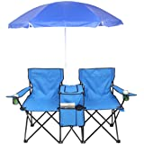 IMGZAR Double Folding Picnic Chairs, 2-Person Folding Camp Beach Chair with Removable Umbrella Mini Table Beverage Holder Car