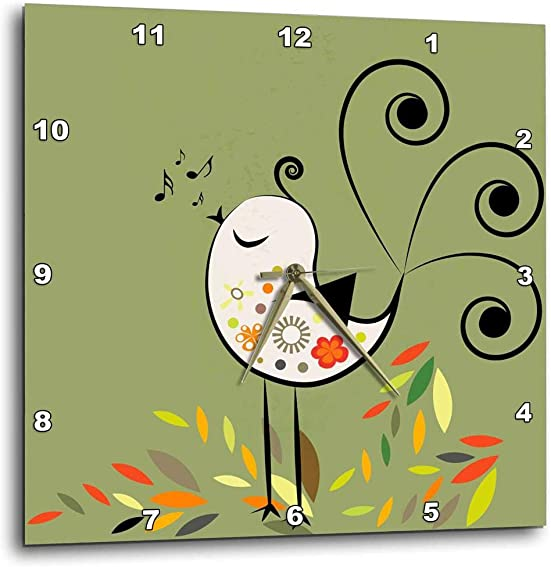 3dRose Little Singing Bird – Wall Clock, 10 by 10-Inch DPP_29010_1