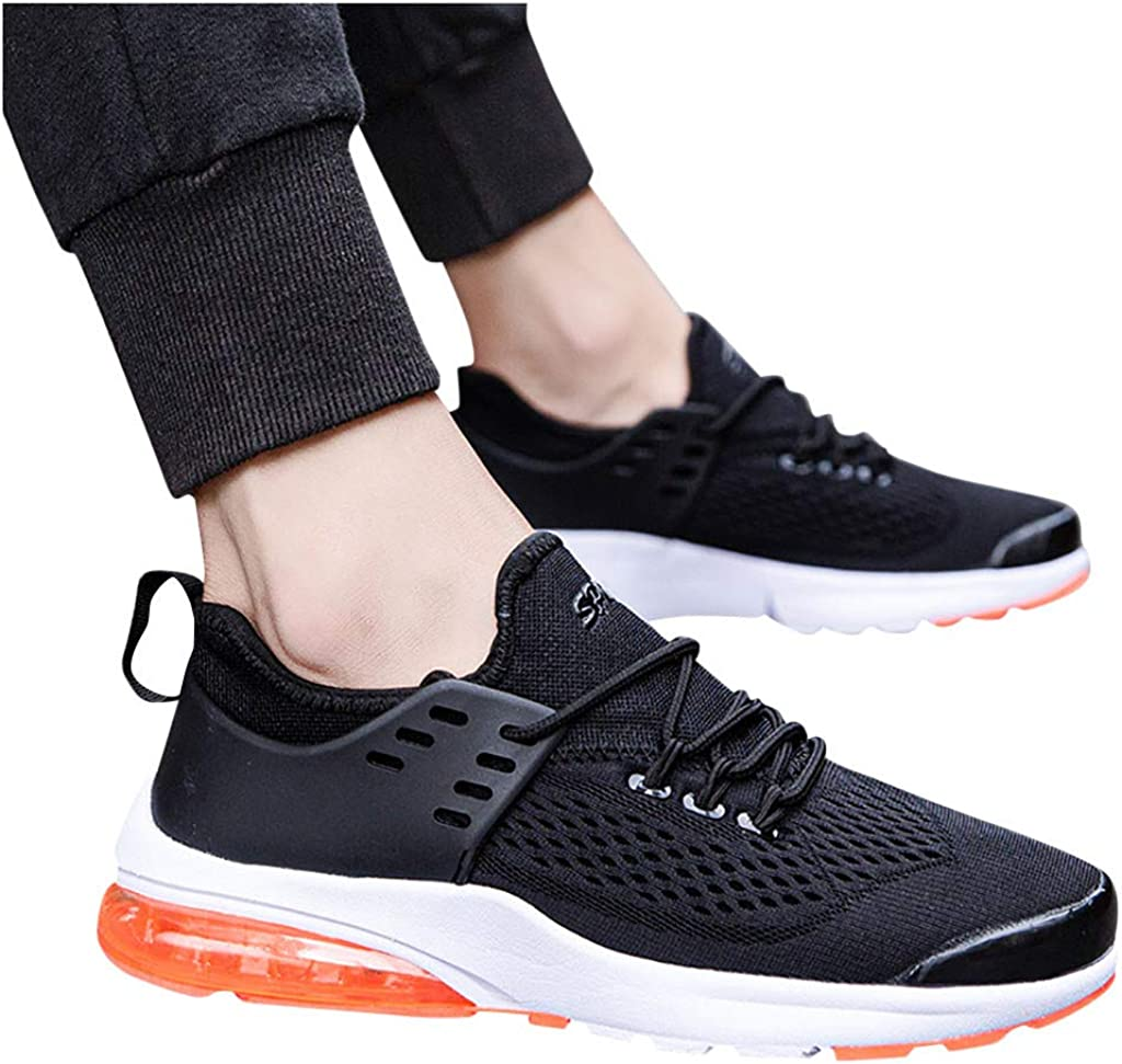 Kininana Fashion Men Breathable Mesh Sneakers Casual Solid Lightweight Sport Shoes Comfy Flat Running Shoes Student Shoes