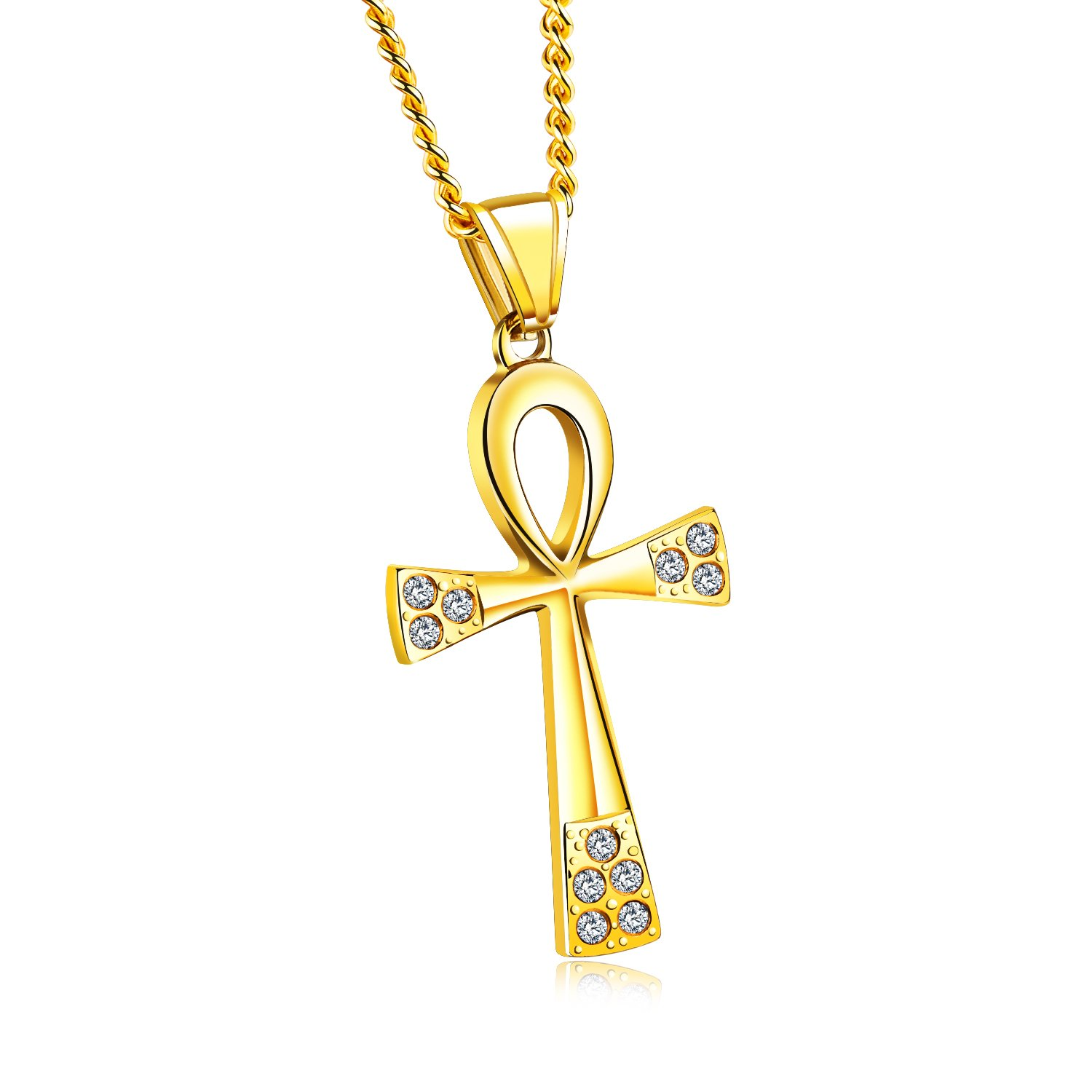 TENGYI Stainless Steel Key of the Nile Egyptian Ankh Cross Necklace for Men Women 24 Inch Chain