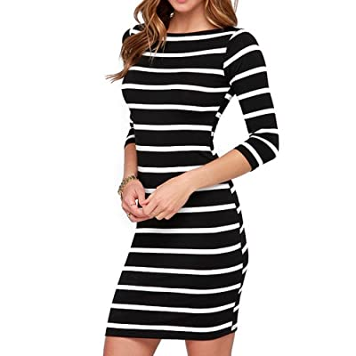 Soatrld Women's 3/4 Sleeve White Black Striped Mini Bodycon Dress Wear to Work Casual Party Pencil Dresses: Clothing
