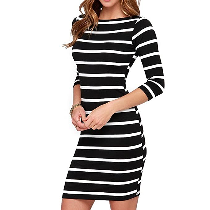 7fe57f662b Soatrld Women s 3 4 Sleeve White Black Striped Mini Bodycon Dress Wear to  Work Casual