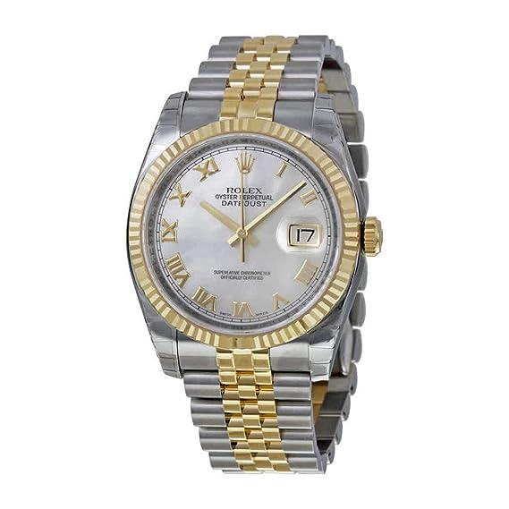 677ced4f123b2 Rolex Oyster Perpetual Datejust 36 Madre de Perla Dial Acero inoxidable  Acero y 18 K amarillo oro Rolex Jubileo Automático Mens Reloj 116233 MRJ   Amazon.es  ...