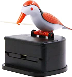 Jucaifu Little bird toothpick dispenser, creative push-type toothpick bird dispenser, toothpick holder. (orange)
