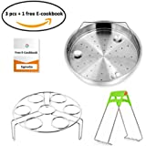 SigmaGo Steamer Basket Rack Set for Instant Pot Accessories - Instapot Duo Accessory Package Fits Instant Pot 5,6,8 qt Pressure Cooker-Vegetable Steamer Pan Trivet Combo with Electrical Cookbook