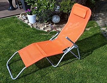 Sante Chaise Longue En Orange Confortable A Pieds Pliables