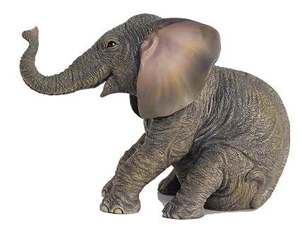 6 13 Inch Sitting Baby Elephant Decorative Figurine, Bronze Color