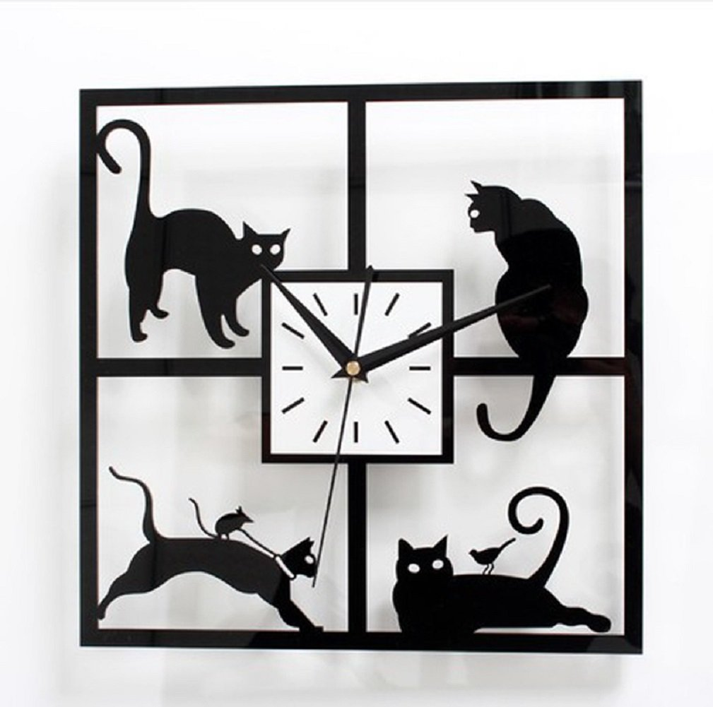 Adorable cats in the window wall clock uraqt silent 3d black adorable cats in the window wall clock uraqt silent 3d black kitten clock for living room bedroom home decor office coffee shop gift amazon amipublicfo Gallery