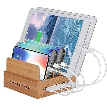 Ai 88 Base Cargador Múltiple 5 Puertos teléfono móvil Bambú ...