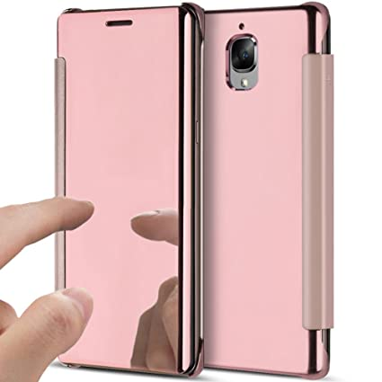 half off 47781 17a38 PHEZEN OnePlus 3 / OnePlus 3T Case, Luxury Mirror Makeup Case Plating PU  Leather Flip Protective Cover [Kickstand] Magnetic Closure Full Cover Case  ...