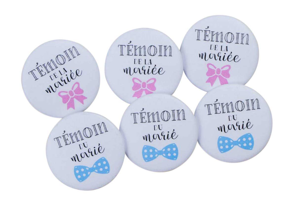 Lot de badges Témoins accessoire mariage - collection couleur (1 Témoin de la mariée+1 Témoin du marié) Bestdayever