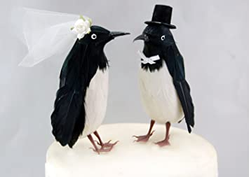 Amazoncom Fancy Penguin Cake Topper Bride and Groom Love Bird