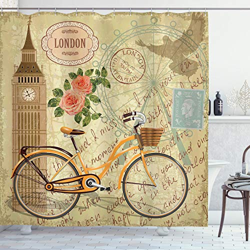 Ambesonne London Shower Curtain, Vintage Design with...