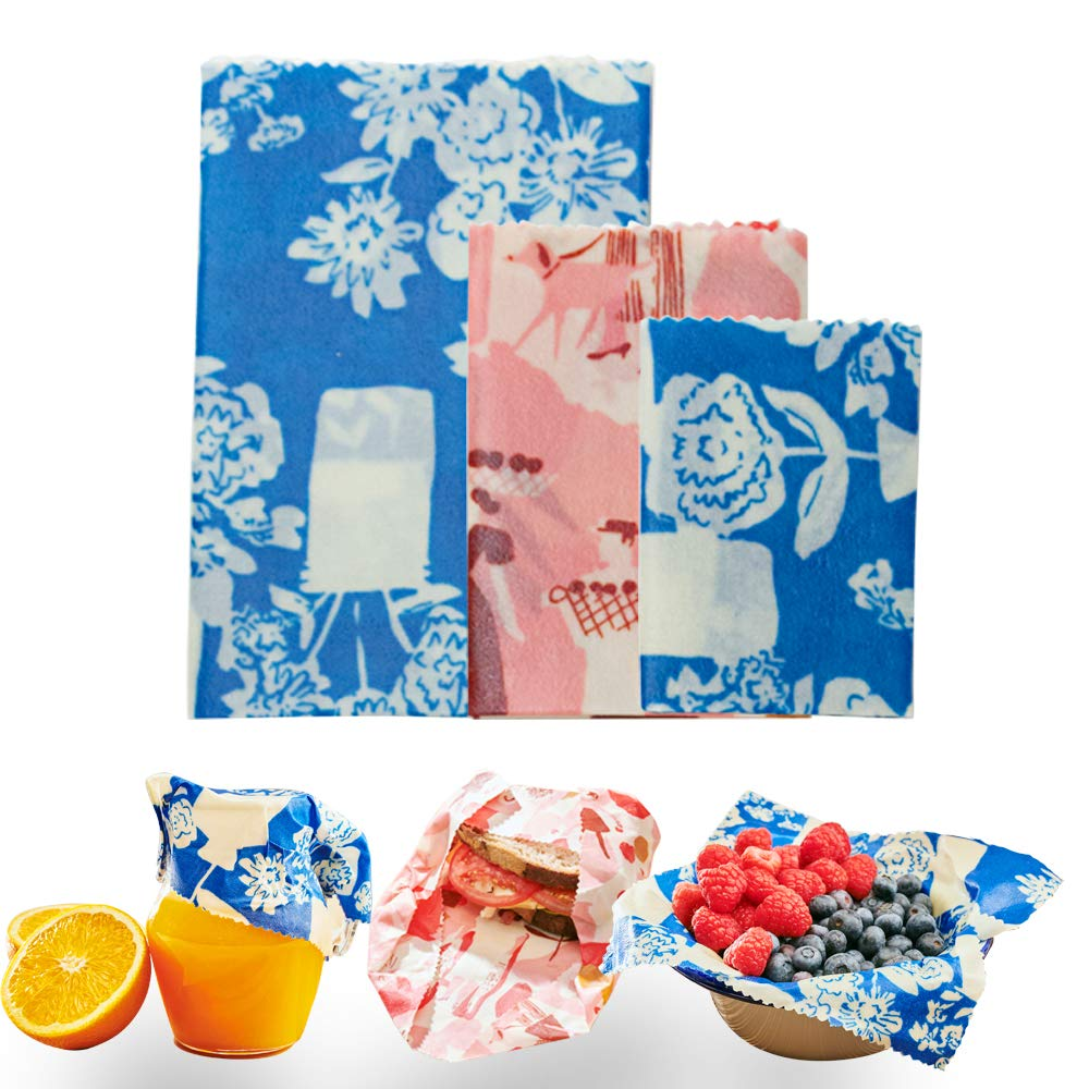 Surprising Beeswax Wrap Set Of 3 Organic Food Storage Wraps Eco Friendly Kitchen Storage Alternative To Cling And Storage Containers 1 Small Blue 1 Medium Home Interior And Landscaping Pimpapssignezvosmurscom