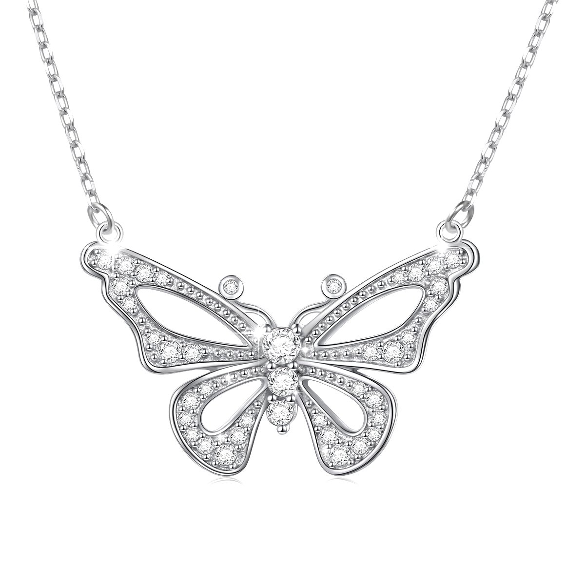 LINLIN FINE JEWELRY 925 Sterling Silver White Cubic Zirconia Butterfly in Heart Pendant Necklace Gift for Women Girls, 18'' (Butterfly) by LINLIN FINE JEWELRY (Image #1)