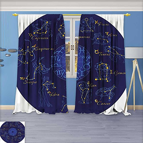 Nalahome Room Darkening Window Curtains, Shaped Icons Chart Celestial Moves Featured Planetary Effects Blue Back Tab, Set of Two Panels 120W x 72L inch ()