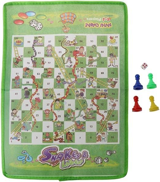 JIACUO Snake and Ladder Niños Flying Chess Tela no Tejida Juego de Mesa Familiar portátil: Amazon.es: Hogar