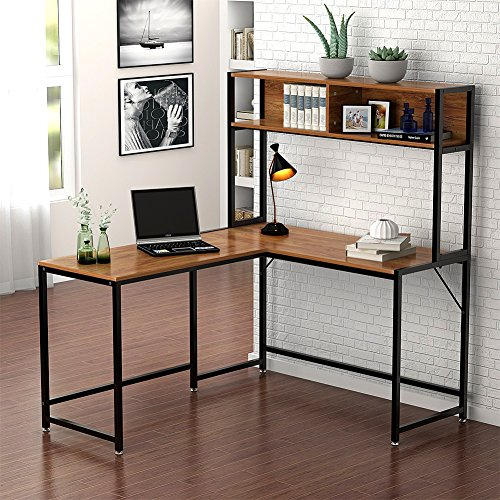 Little Tree L-Shaped Desk with Hutch, Corner Computer Desk PC Laptop Study Gaming Table Workstation with Storage for Home Office, Wood & Metal, Vintage Walnut