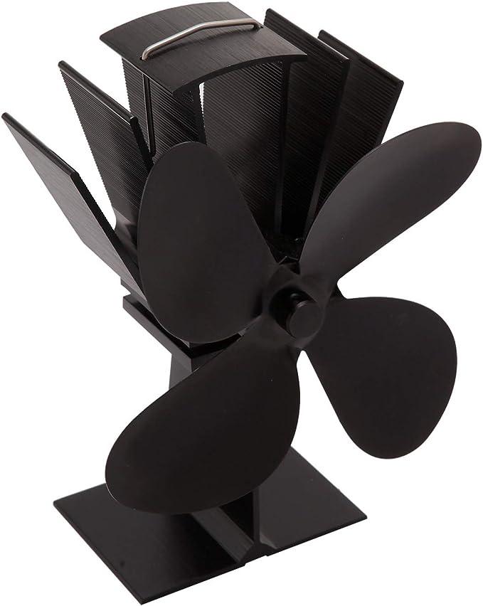 4 Aspas de Rotor Heat Powered Wood Stove Fan Mini Portatile ...