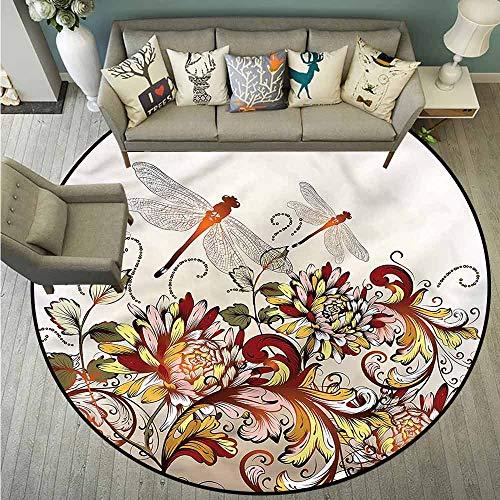 - Round Carpet,Spring,Flower Field Dragonfly,All Season Universal,4'3