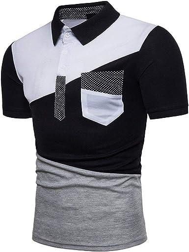 Camisa De Polo De Manga Corta Slim En Cuello Fit con V para Hombre con Bolsillo En El Pecho Camisa De Polo De Deporte con Solapa En Forma De Camiseta para Hombre: